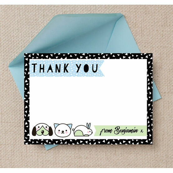 Pet Themed Thank You Card - Blue