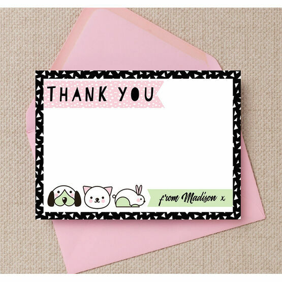 Pet Themed Thank You Card - Pink