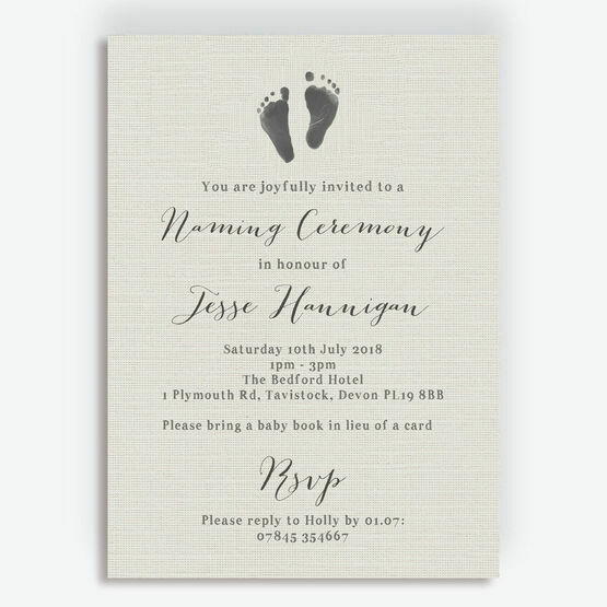 Rustic Calligraphy Naming Day Ceremony Invitation
