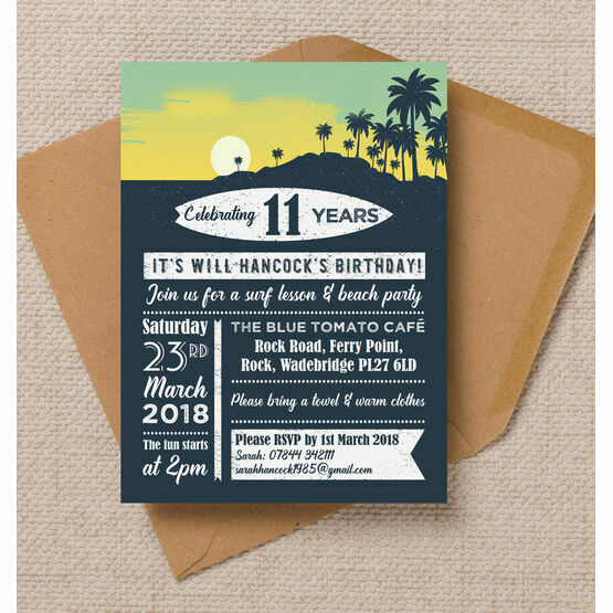 Surf Beach Themed Birthday Party Invitation From GBP080 Each