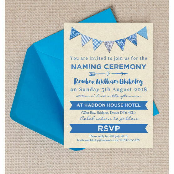 Blue Bunting Naming Ceremony Day Invitation