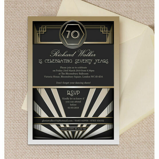 Black & Gold Art Deco Birthday Party Invitation