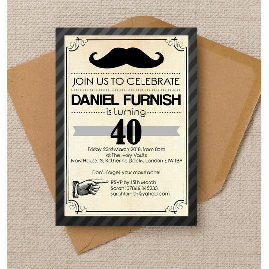 Vintage / Retro Style Moustache Birthday Party Invitation