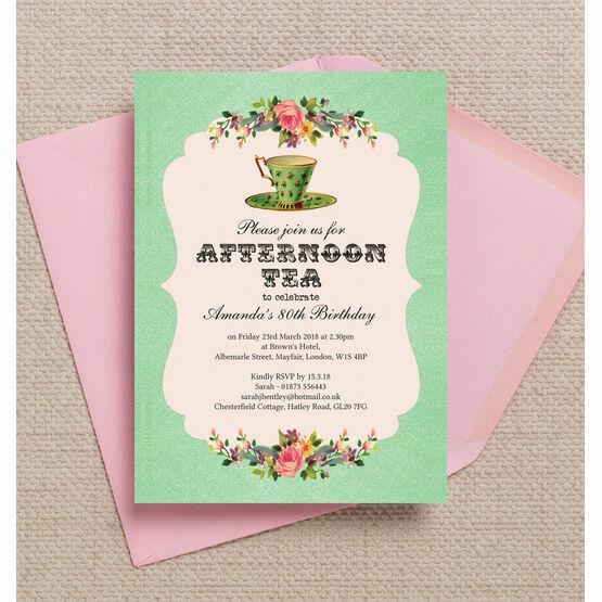 Vintage Afternoon Tea Themed Birthday Party Invitation