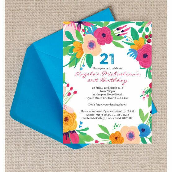 Bright Floral Fiesta Birthday Birthday Party Invitation