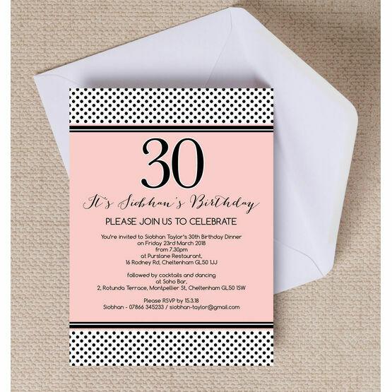 Blush Pink & Black Polka Dot Birthday Party Invitation