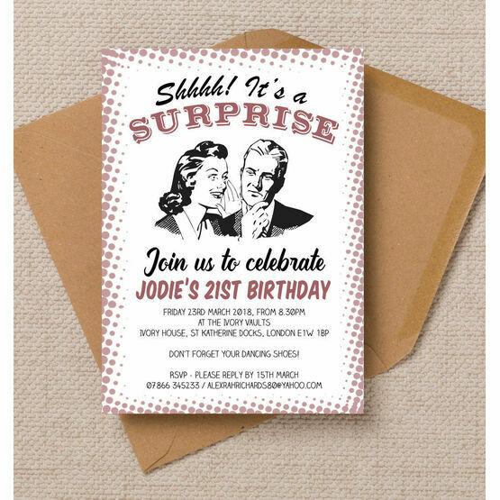 Retro Surprise Ladies Birthday Party Invitation