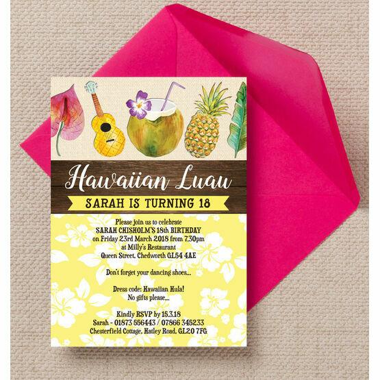 Hawaiian Luau Tropical Themed Birthday Party Invitation