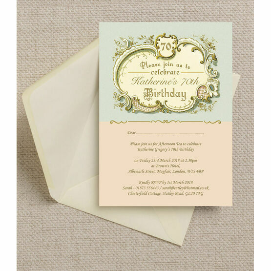 Antique / Vintage Style Blue & Peach Birthday Party Invitation