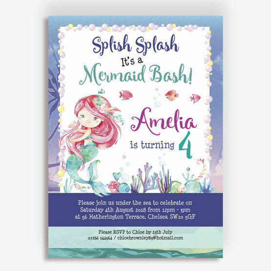 Mermaid Birthday Party Invitation From 080 Each