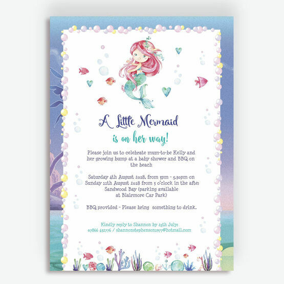 graphic regarding Printable Mermaid Baby Shower Invitations called Mermaid Child Shower Invitation in opposition to £0.80 every single