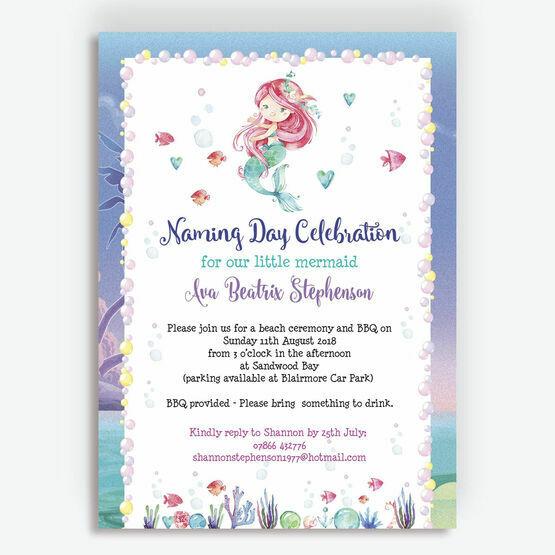 Mermaid Naming Day Invitation