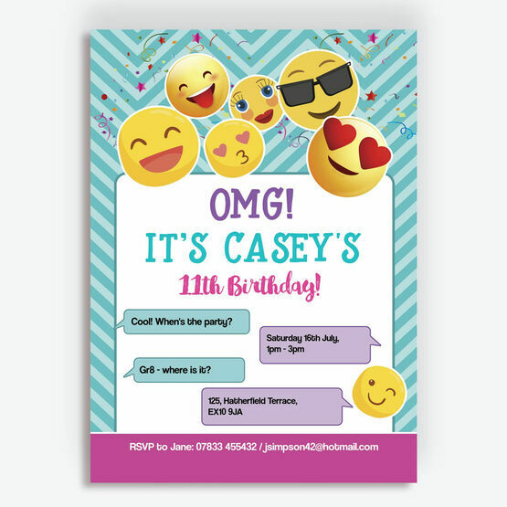Emoji Themed Birthday Party Invitation From 080 Each