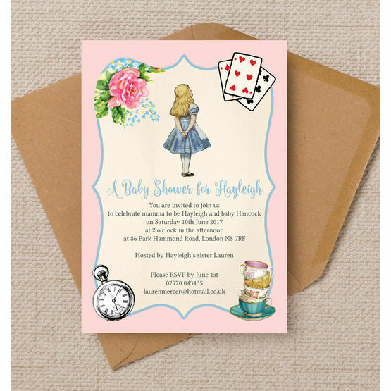 Pink & Blue Alice in Wonderland Baby Shower Invitation