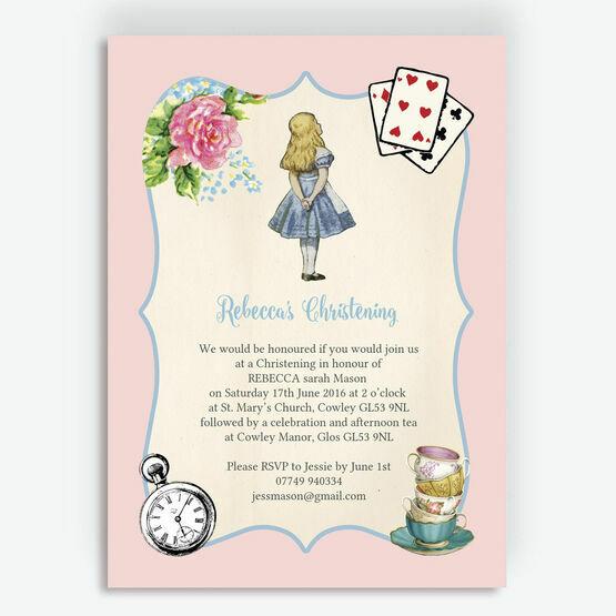 Pink & Blue Alice in Wonderland Christening / Baptism Invitation