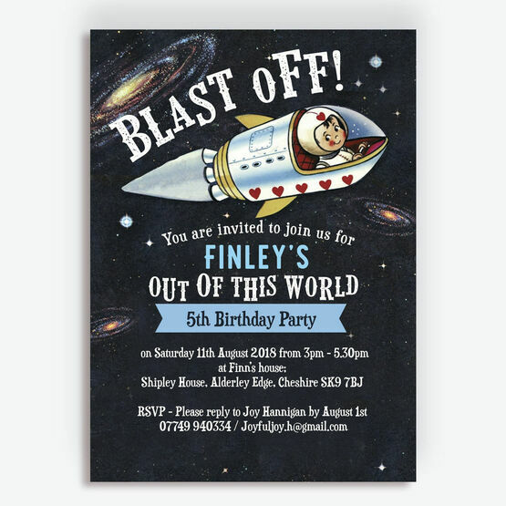 Spaceman / Astronaut Themed Birthday Party Invitation