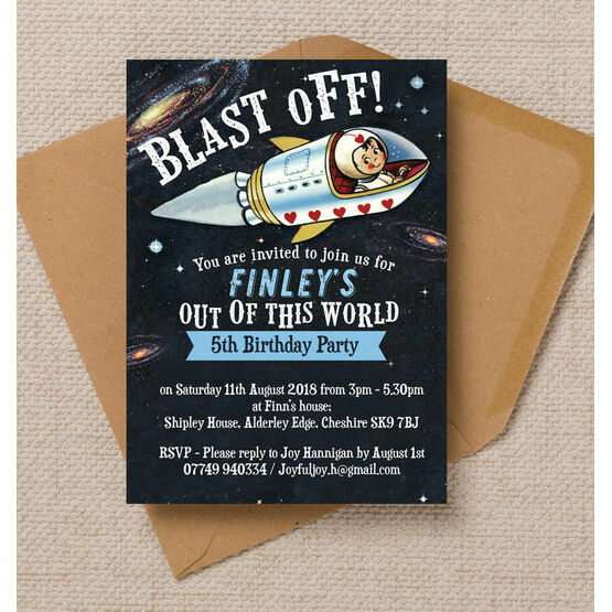 Spaceman Astronaut Themed Birthday Party Invitation From 080 Each