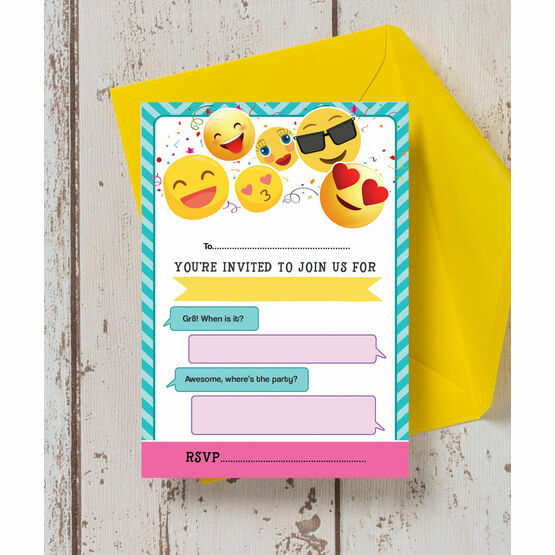 Pack of 10 Emoji Themed Party Invitations
