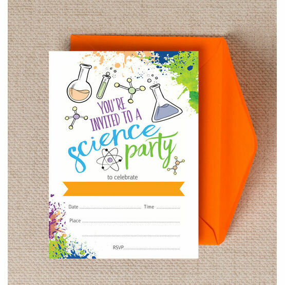 Pack of 10 Mad Science Themed Party Invitations