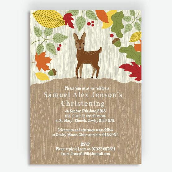 Woodland Animals Christening / Baptism Invitation
