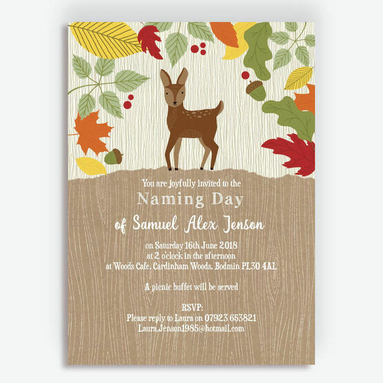 Woodland Animals Naming Day Invitation