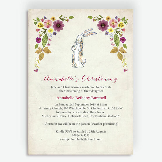 Velveteen Rabbit Christening / Baptism Invitation