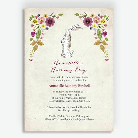 Velveteen Rabbit Naming Day Invitation