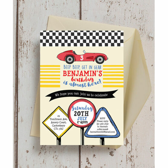 racing cars personalised birthday party invitation from 0 80 each
