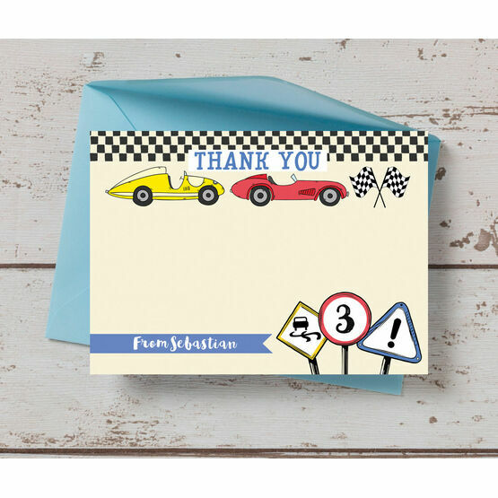 Racing Cars Personalised Thank You Card