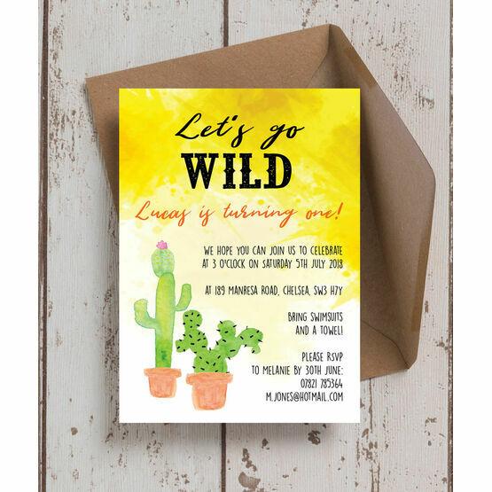 Let's Go Wild! / Cactus Birthday Party Invitation