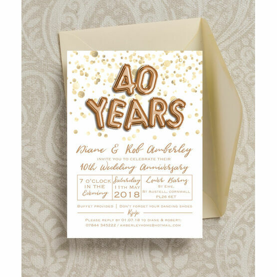 Gold Balloon Letters 40th / Ruby Wedding Anniversary Invitation