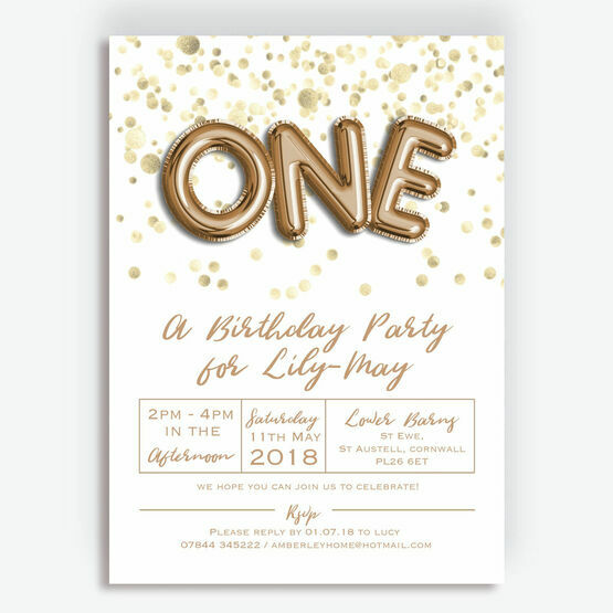 Gold Balloon Letters Birthday Party Invitation
