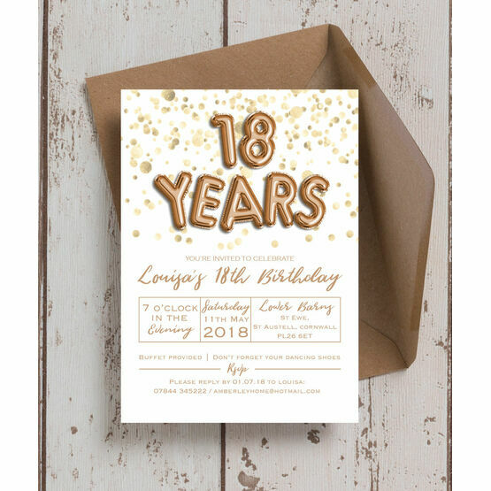 Gold Balloon Letters 18th Birthday Party Invitation