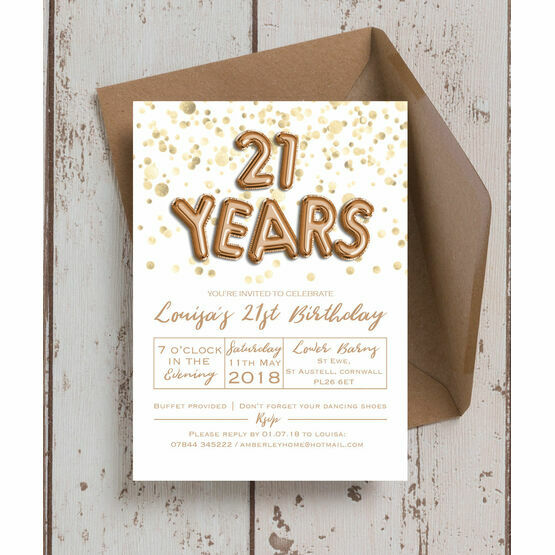 Gold Balloon Letters 21st Birthday Party Invitation From 090 Each
