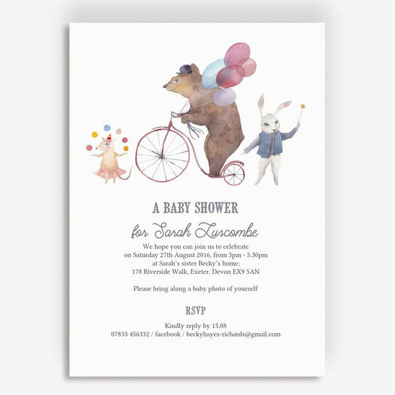 Circus Friends Baby Shower Invitation