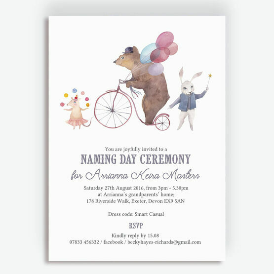 Circus Friends Naming Day Ceremony Invitation