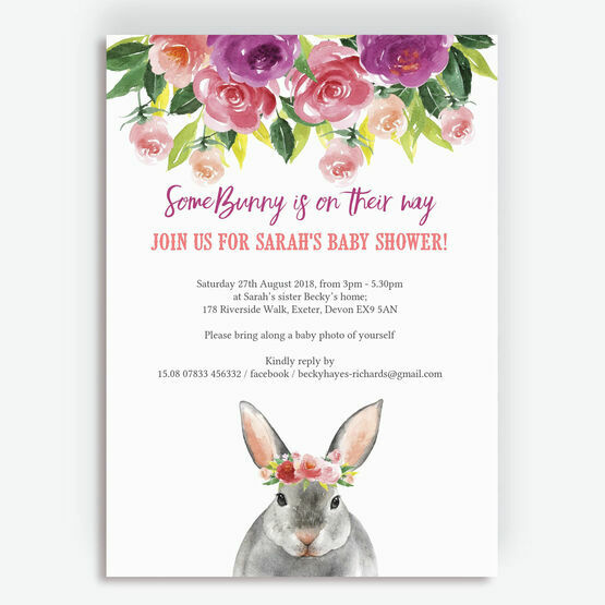 Flower Crown Bunny Rabbit Baby Shower Invitation