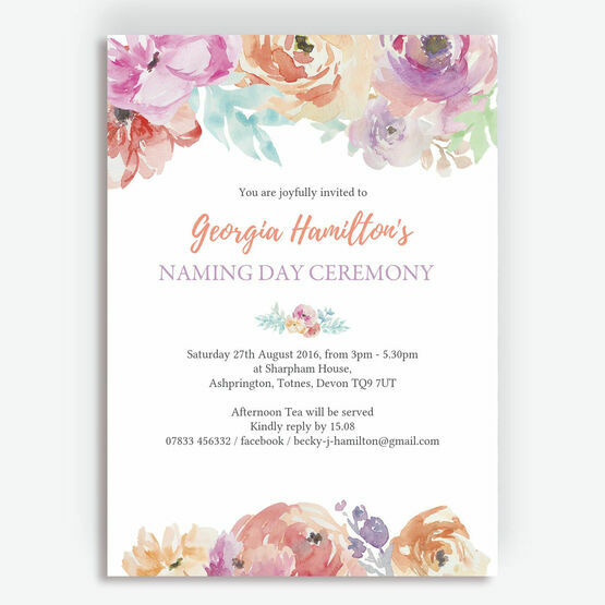 Pastel Floral Naming Day Ceremony Invitation
