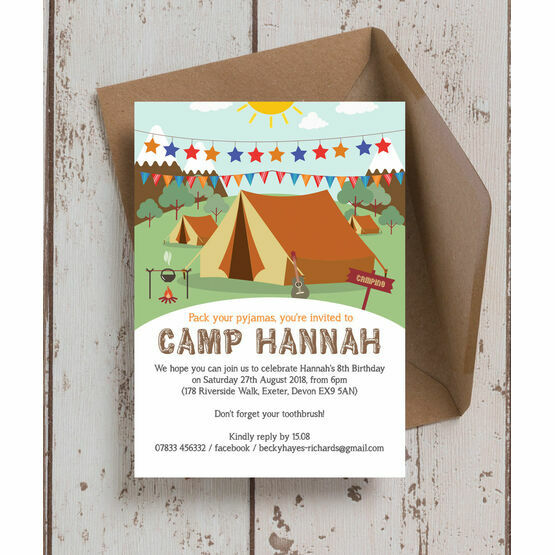 camping themed birthday party invitation from 0 80 each
