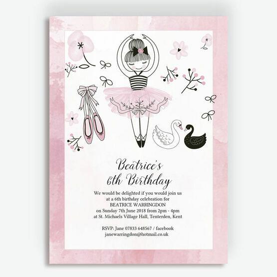 Prima Ballerina Ballet Themed Pink Birthday Party Invitation