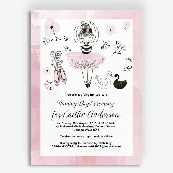 Prima Ballerina Naming Day Ceremony Invitation