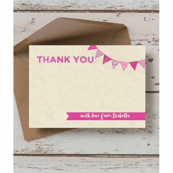Vintage Pink Bunting Thank You Card