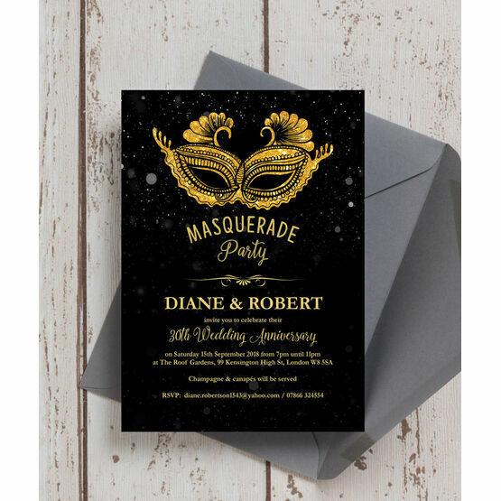 Masquerade Ball 30th / Pearl Wedding Anniversary Invitation