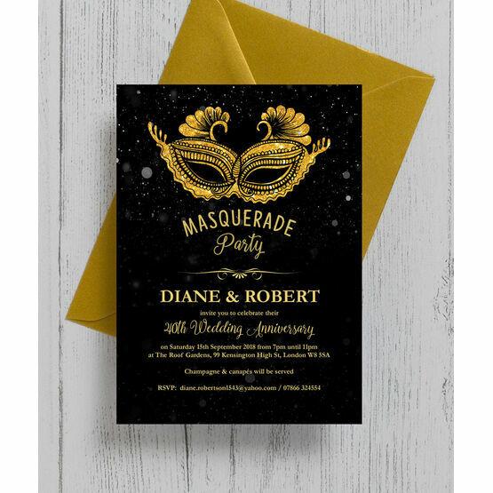 Masquerade Ball 40th / Ruby Wedding Anniversary Invitation