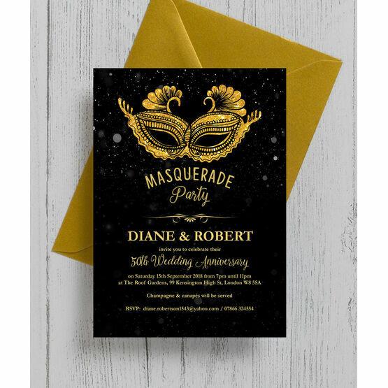 Masquerade Ball 50th / Golden Wedding Anniversary Invitation