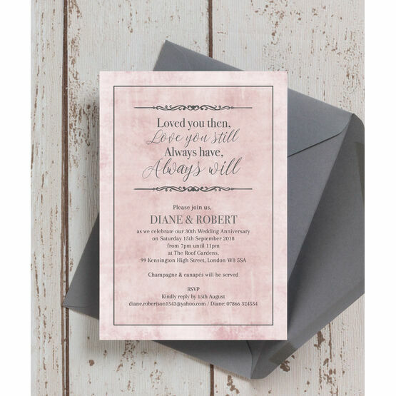 Pastel Pink Quote Wedding Anniversary Invitation