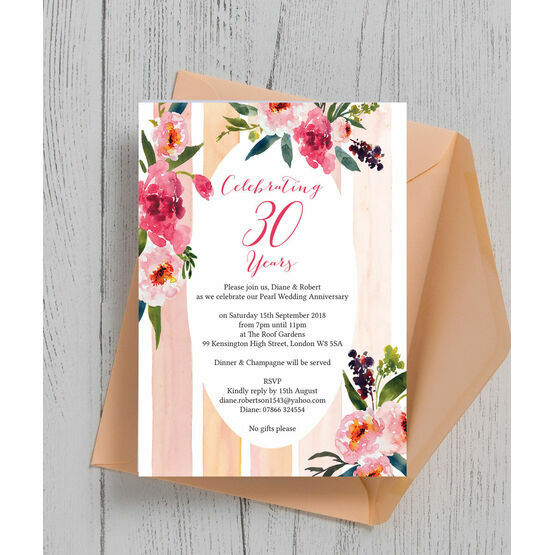 30th Wedding Anniversary Invitations: Painted Peonies 30th / Pearl Wedding Anniversary