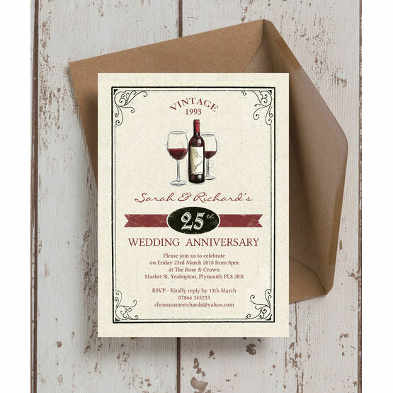 Vintage Wine Themed 25th / Silver Wedding Anniversary Invitation