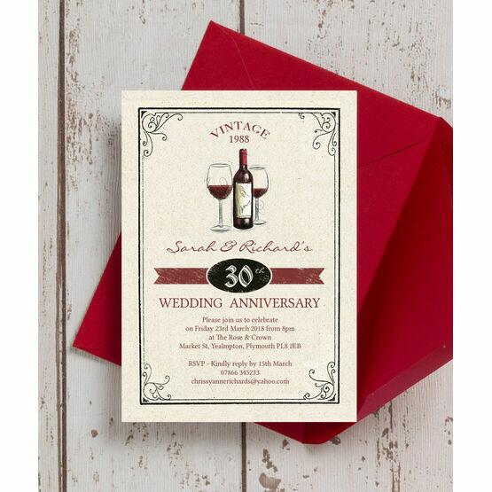 Vintage Wine Themed 30th / Pearl Wedding Anniversary Invitation