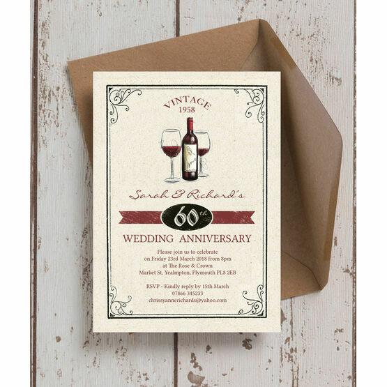 Vintage Wine Themed 60th / Diamond Wedding Anniversary Invitation